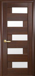 Двери Пиана Новый Стиль каштан Делюкс со стеклом Сатин