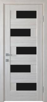 Межкомнатные двери Пиана Новый Стиль ясень делюкс стекло черное