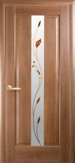 Межкомнатные двери Премьера Новый Стиль золотая ольха делюкс со стеклом Р1