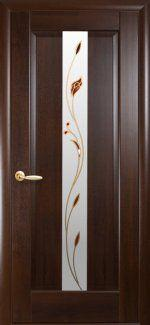 Межкомнатные двери Премьера Новый Стиль каштан делюкс со стеклом Р1
