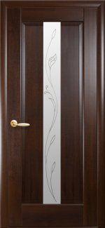 Межкомнатные двери Двері Премьєра Р2 Новий Стиль каштан делюкс зі склом Р2
