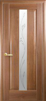 Межкомнатные двери Премьера Новый Стиль золотая ольха делюкс со стеклом Р2