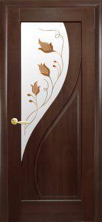 Двери Прима каштан делюкс со стеклом Р1