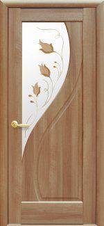 Двери Прима золотая ольха делюкс со стеклом Р1