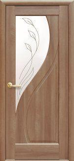 Двери Прима золотая ольха делюкс со стеклом Р2