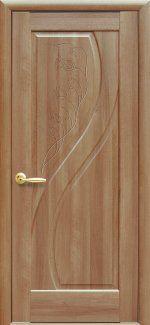 Двери Прима золотая ольха делюкс глухое с гравировкой