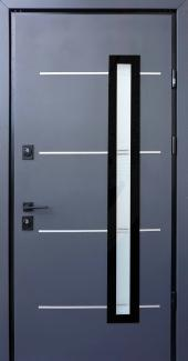 Входные двери Giada E Страж антрацит / vin белый