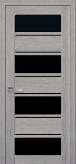 Двери Новый Стиль Элиза дуб дымчатый стекло черное