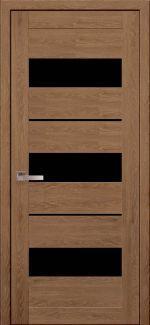 Двери Лилу дуб медовый стекло черное