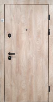 Входные двери STZ 001 фурнитура черная Rodos дуб ясный синхро 16 мм(внутренняя),16 мм(наружная)
