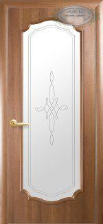 Двери Рока С Витраж Новый Стиль золотая ольха Делюкс со стеклом Р1
