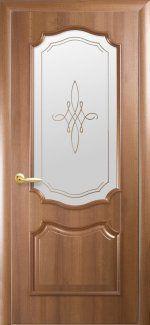 Двери Рока Новый Стиль золотая ольха Делюкс со стеклом Р1
