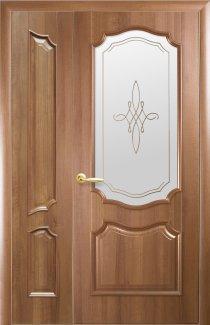 Двери полуторные Рока Новый Стиль золотая ольха Делюкс глухое + стекло Р1