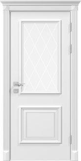 Двери Siena Laura Родос белая эмаль со стеклом с гравировкой