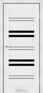 Межкомнатные двери Slovenia StilDoors белое дерево стекло черное