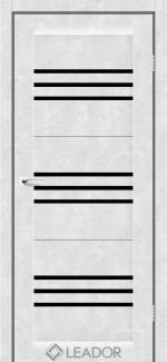 Межкомнатные двери Двери Sovana Леадор бетон белый стекло черное