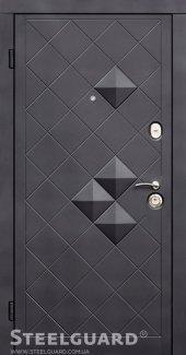 Двері Steelguard Пирамида 117 чорний мат + 3d декор / білий шовк + вставки з композиту