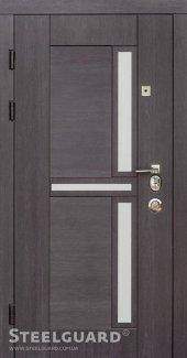 Двері Steelguard Neoline венге прованс + композитные вставки під алюміній / сосна прованс + чорне глянцеве скло