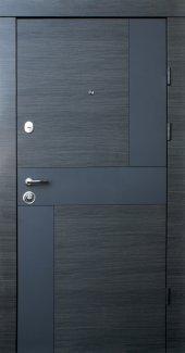 Двері Qdoors Преміум Стиль-М венге сірий горизонт арт графіт ззовні / біле дерево зсередини