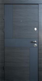 Входные двери Премиум Стиль-М коробка белая Qdoors венге серый горизонт арт графит / белое дерево