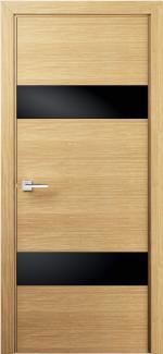 Межкомнатные двери Двері модель 22 Термінус світлий дуб чорне скло