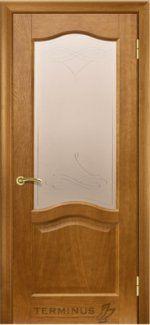 Двери Терминус модель 3 темный дуб со стеклом