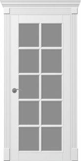 Двери Тесоро К3 ПОО + капитель белая эмаль со стеклом + решетка
