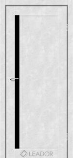 Межкомнатные двери Двери Toscana Леадор бетон белый стекло черное