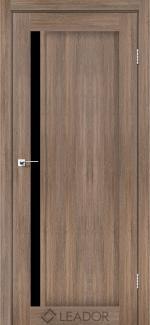 Межкомнатные двери Двери Toscana Леадор серое дерево стекло черное