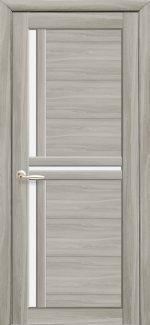 Двери Тринити Новый Стиль ясень патина со стеклом Сатин