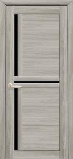 Двери Новый Стиль Тринити Black ясень патина стекло черное