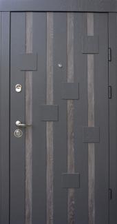 Входные двери Ультра Рондо Qdoors дуб графит / дуб шале седой