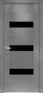 Межкомнатные двери Вена Новый Стиль х-серый стекло черное