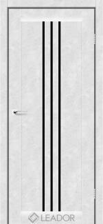 Межкомнатные двери Двери Veneto Леадор бетон белый стекло черное