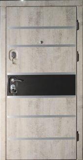 Двери Very Dveri Цезарь Elit серый бетон вставка черный мат с молдингами