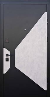 Входные двери Vesta Страж софт блек + бетон серый / софт милк