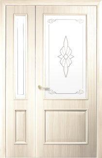 Двери полуторные Вилла Новый Стиль ясень Делюкс стекло Р1 + стекло Р1