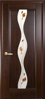 Межкомнатные двери Волна Новый Стиль каштан делюкс со стеклом Р1