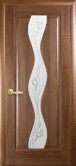 Межкомнатные двери Волна Новый Стиль золотая ольха делюкс со стеклом Р2