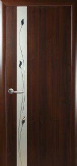 Двери Злата Новый Стиль каштан Делюкс со стеклом Сатин