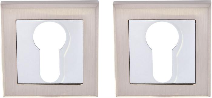 HISAR Накладка квадратная под цилиндр NS ET SN/CP матовый никель / полированный хром