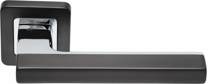 Ручки Safita Combo SQ MSB/CP графит матовый / полированный хром - Дверные ручки — фото №1