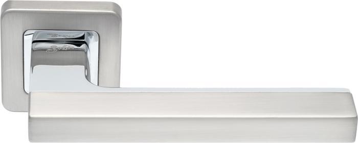 Ручки Safita Combo SQ MSN/CP матовый сатин никель / полированный хром - Дверные ручки — фото №1