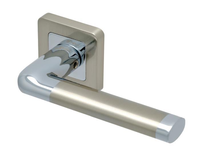 Ручки Safita Space SQ SN/CP матовый никель / полированный хром - Дверные ручки — фото №1