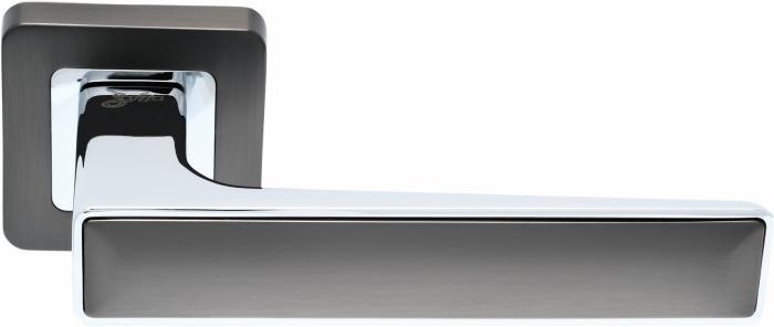 Ручки Safita Twin SQ MSB/CP графит матовый / полированный хром - Дверные ручки — фото №1