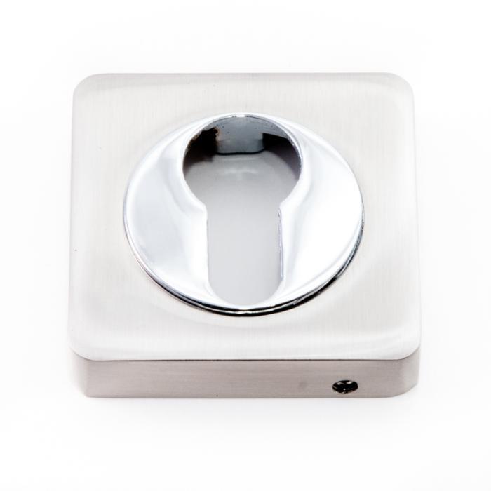 Safita Накладка квадратная под цилиндр PZ R11 матовый никель / полированный хром