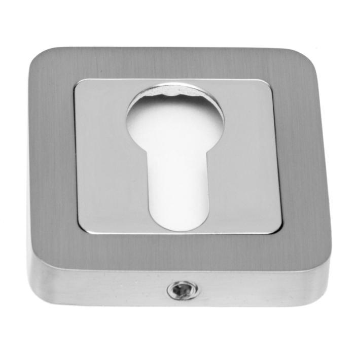 Safita Накладка квадратная под цилиндр PZ R40 MSN/CP матовый сатин никель / полированный хром