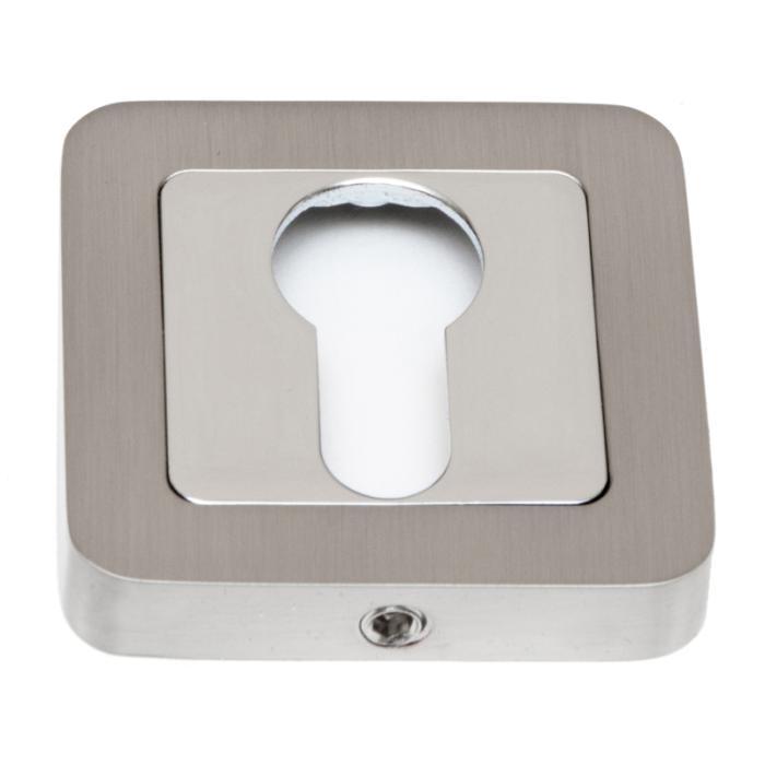 Safita Накладка квадратная под цилиндр PZ R40 матовый никель / полированный хром