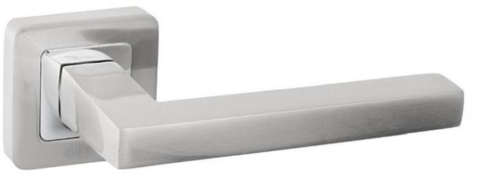Ручки Safita Tetra SQ MSN/CP матовый сатин никель / полированный хром - Дверные ручки — фото №1