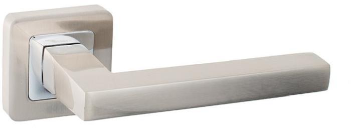 Ручки Safita Tetra SQ SN/CP матовый никель / полированный хром - Дверные ручки — фото №1